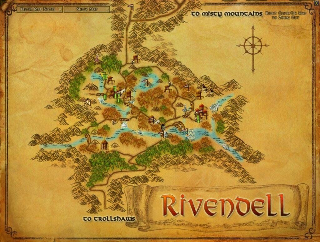 mapa de la tierra media rivendel